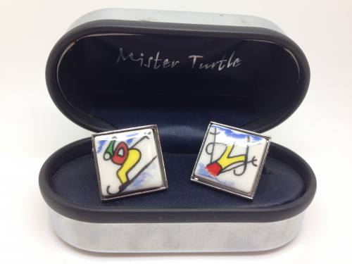 Cufflinks - Skiing - Base Metal
