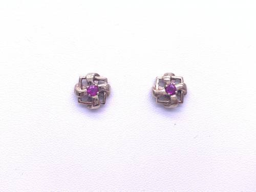 9ct Yellow Gold Ruby Fancy Studs