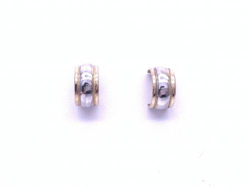 9ct Yellow & White Gold Half Hoop Earrings