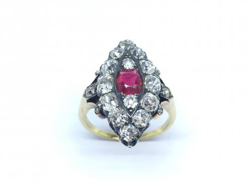 An old Ruby And Diamond Marquise Cluster Ring