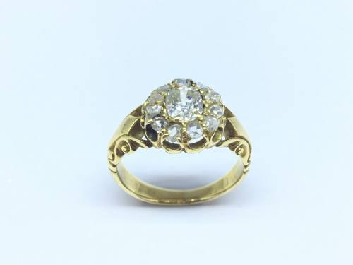 An Old Fancy Diamond Cluster Ring