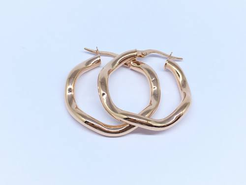 9ct Rose Gold Wave Design Hoop Earrings 20mm