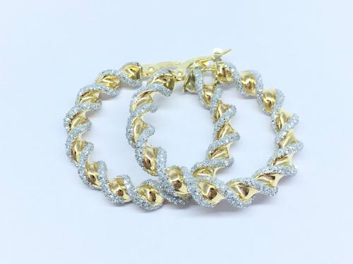 9ct Yellow Gold Glitter Twist Hoop Earrings 20mm