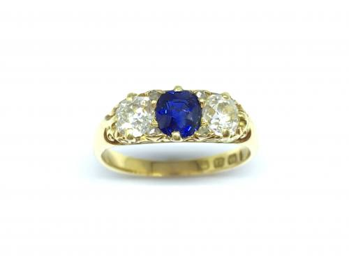 Victorian 18ct Sapphire and Diamond Ring
