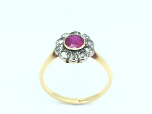 An Old Synthetic Ruby and Diamond Cluster Ring