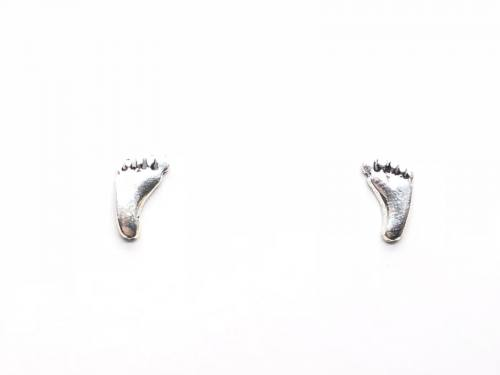 Silver Footprint Stud Earrings