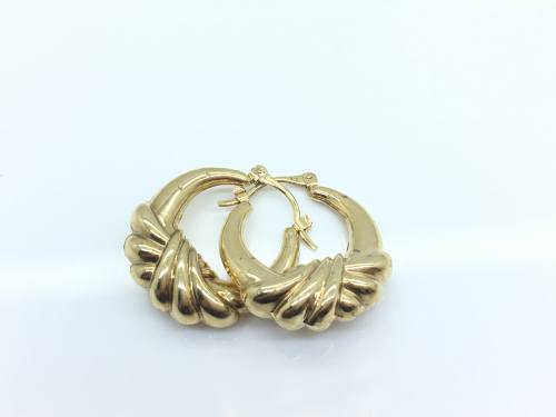 9ct Yellow Gold Fancy Hoops