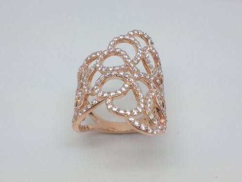 Silver Rose Gold Plated CZ Filigree Ring Size L