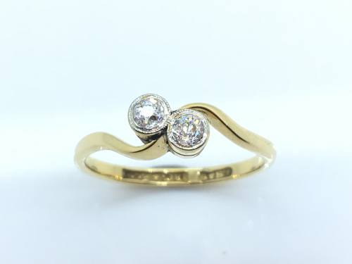 An Old Diamond 2 Stone Ring