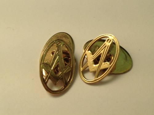 9ct Yellow Gold Oval Masonic Cufflinks