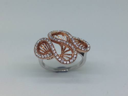 Silver & Rose Gold Plated Ring Size L