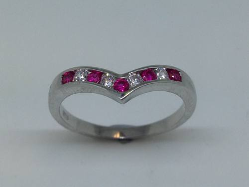 Silver Red & White CZ Wishbone Ring Size P