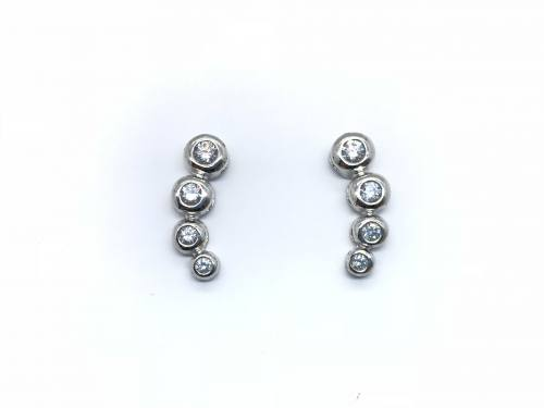 9ct White Gold CZ set Drop Stud Earring