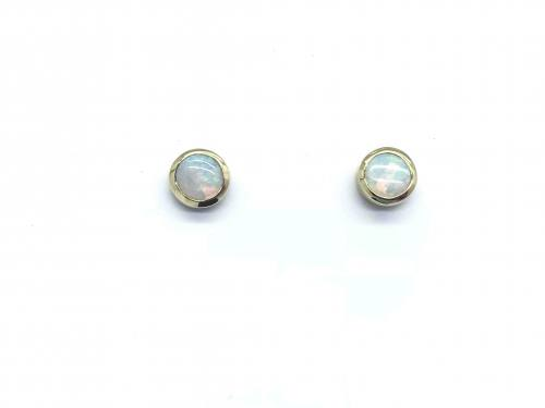 9ct Yellow Gold Rubover Round Opal Stud Earrings