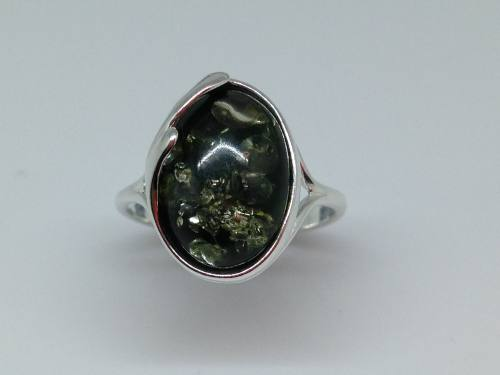Silver Green Amber Oval Ring