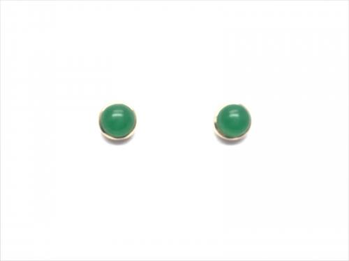 9ct Yellow Gold Round Green Jade Stud Earrings