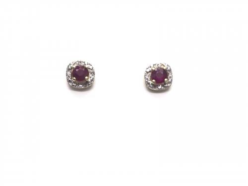 9ct Yellow Gold Ruby and Diamond Cluster Earrings