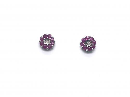 9ct White Gold Ruby and Diamond Cluster Earrings