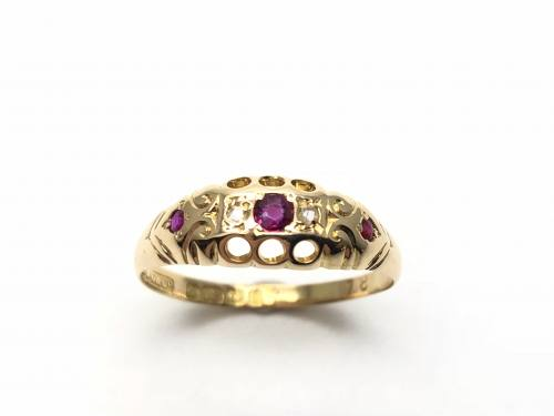 Edwardian 18ct Ruby and Diamond Ring