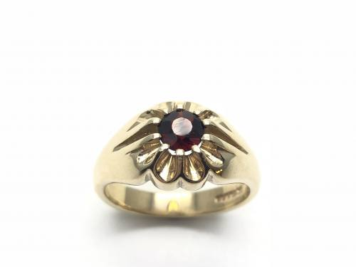9ct Yellow Gold Garnet Solitaire Ring