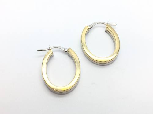 9ct White Gold and Yellow Gold Hoop Earrings