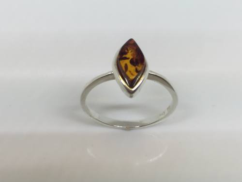Silver Brown Amber Ring