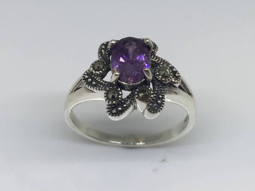 Silver Marcasite & Purple CZ Ring Size N
