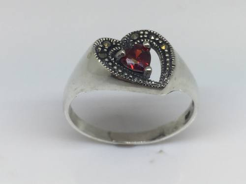 Silver Marcasite & Red CZ Ring Size N