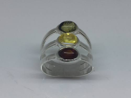 Silver and Amber multicoloured triple oval ring