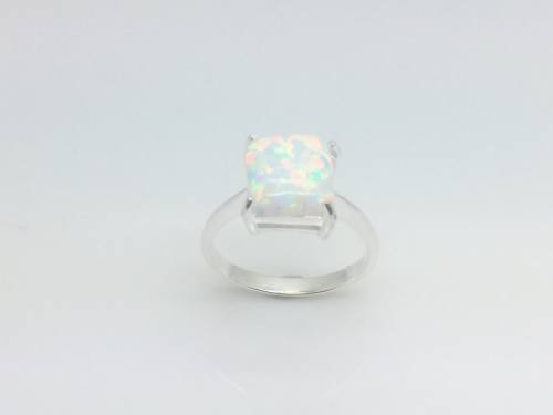 Silver & Square Created Opal Ring