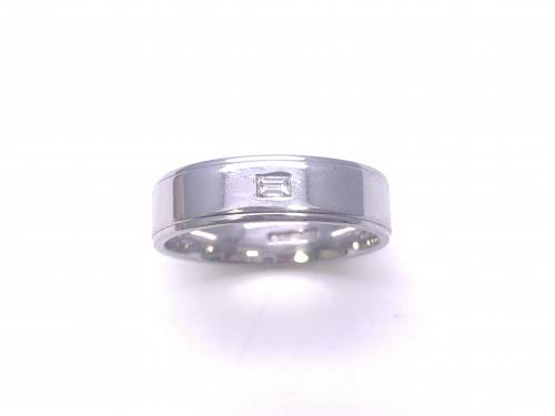 18ct White Gold Diamond Set Wedding Ring 6mm