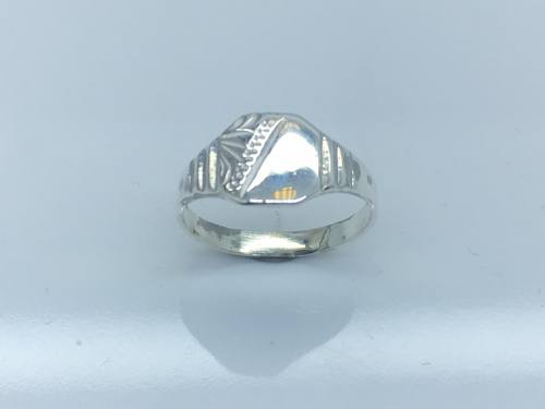 Silver 1/2 Engraved Square Signet Ring