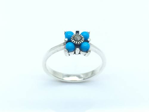 Silver Created Turquoise and Marcasite Ring