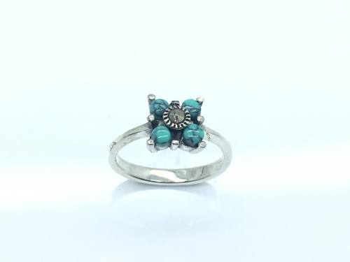 Silver CreatedTurquoise And Marcasite Ring