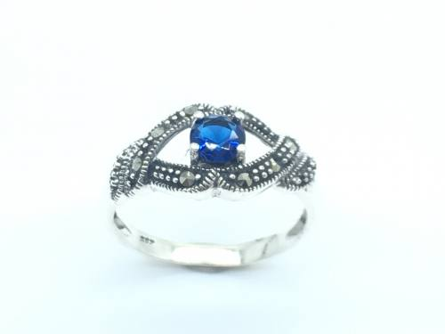 Silver Blue C Z and Marcasite Ring