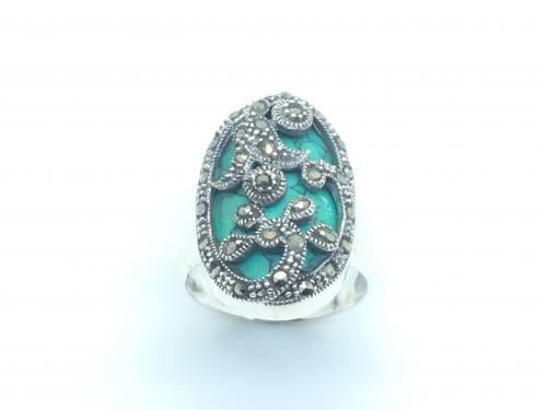 Silver, Marcasite and Turquoise Ring