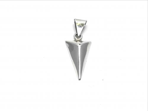 Silver Upside Down Pyramid Pendant 32 x 14mm