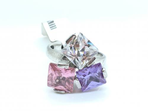 3 Colour CZ Ring