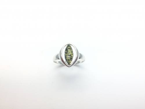 Silver Green Amber Fancy Ring