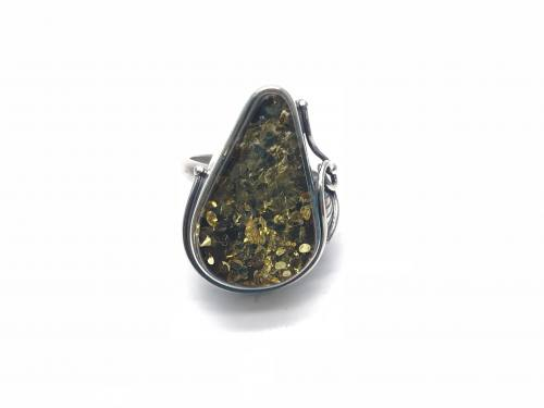 Silver Green Amber Ring 26 x 20mm