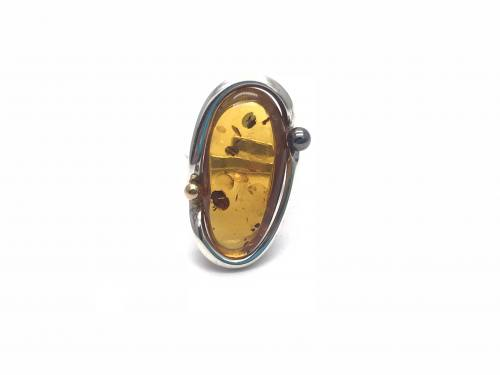 Amber Adjustable Ring 32 x 17 mm