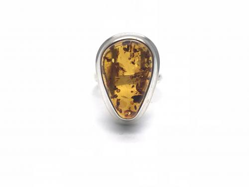 Amber Ring 25 x 17mm Size R