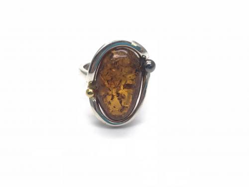 Silver Amber Adjustable Ring 25 x 18mm