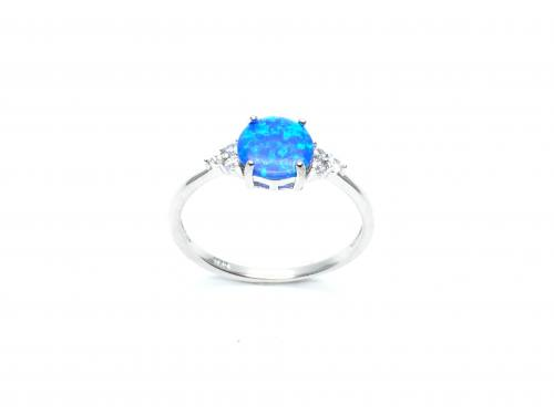 Silver Created Blue Opal Ring