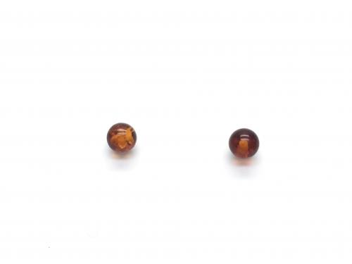 Silver Amber Ball Stud Earrings