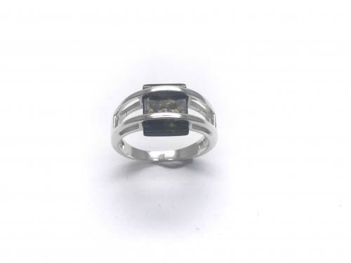 Silver Green Square Cut Amber Ring