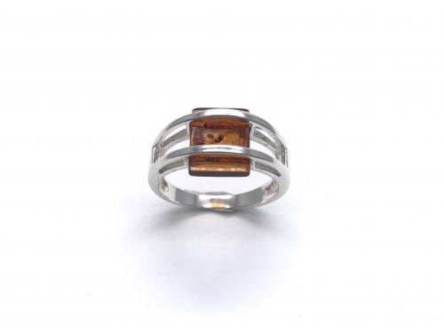 Silver Square Shaped Amber Ring