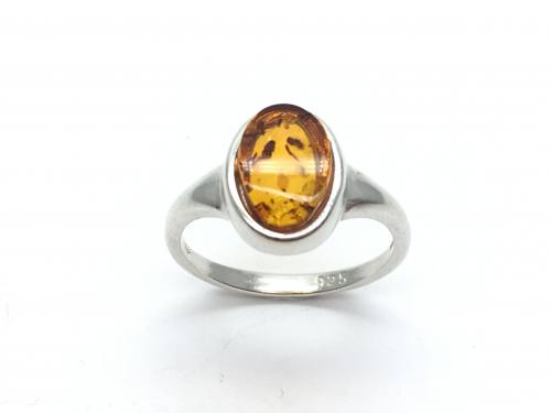 Silver Plain Oval shaped Amber Ring