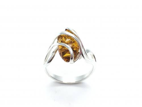 Silver Fancy Marquise Shaped Amber Ring