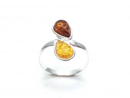 Silver Double Teardrop Multi Amber Ring